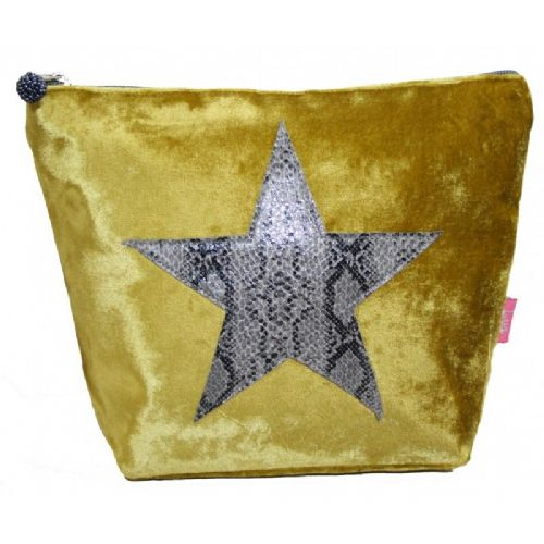 Lua Designs Snakeskin Star Cosmetic Bag Purse in Mustard Velvet with Grey Snakeskin